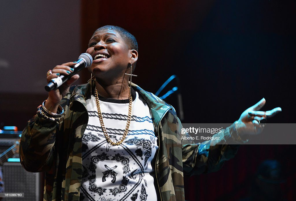 Singer Stacy Barthe performs at the BET Music Matters Grammy Showcase on February 8, 2013 in Los Angeles, California.