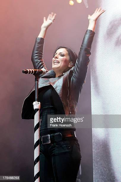Singer Stefanie Kloss of Silbermond performs live during the rs2 Sommerfestival at the Kindlbuehne Wuhlheide on August 3 2013 in Berlin Germany