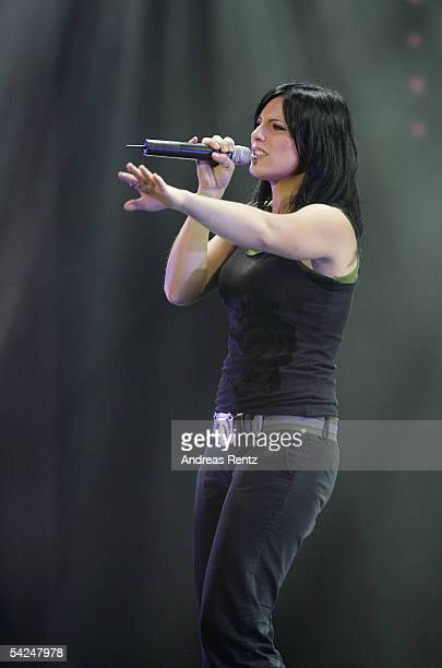 Singer Stefanie Kloss of the band Silbermond performs on stage during the German Radio Awards 2005 at the Tempodrom Hall September 2 2005 in Berlin...