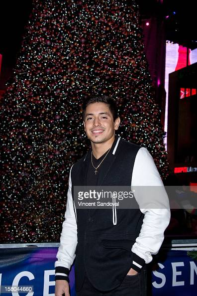 Singer Stefano Langone attends AEG's Season of Giving honoring PADRES Contra El Cancer during a special onice presentation at the LA Kings Holiday...
