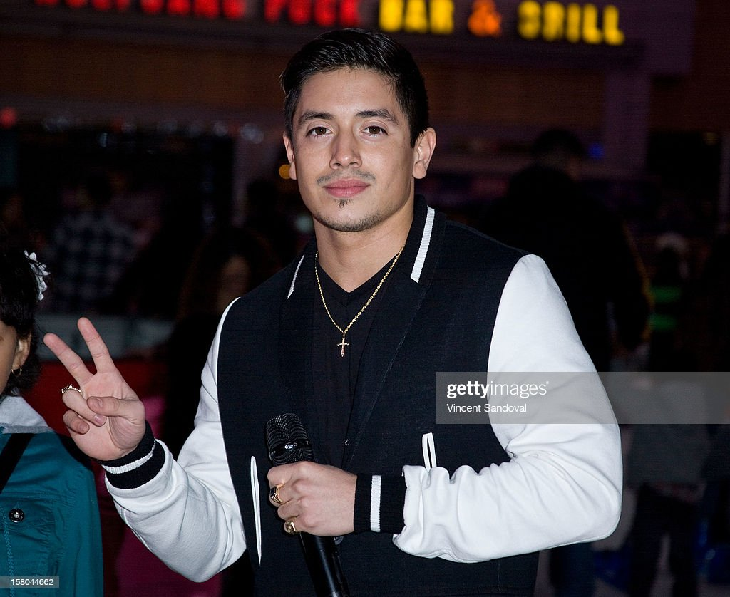 Singer Stefano Langone attends AEG's Season of Giving honoring PADRES Contra El Cancer during a special on-ice presentation at the LA Kings Holiday Ice at Nokia Plaza L.A. LIVE on December 9, 2012 in Los Angeles, California.