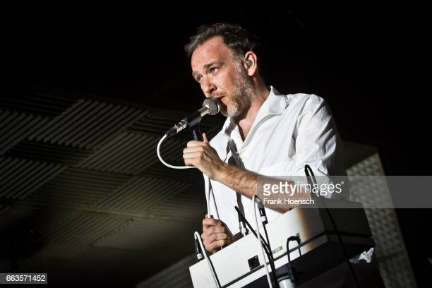 Singer Stephen Dewaele of the Belgian band Soulwax performs live during a jubilee concert of Intro magazine at the Huxleys on April 1 2017 in Berlin...