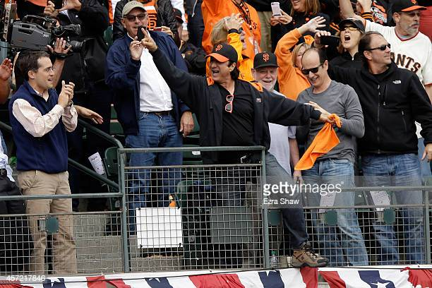 Singer Steve Perry performs during Game Three of the National League Championship Series at ATT Park on October 14 2014 in San Francisco California