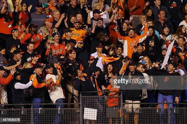 Singer Steve Perry sings in the stands before the ninth inning between the San Francisco Giants and the Kansas City Royals during Game Three of the...