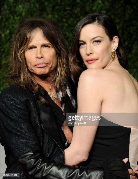 Singer Steven Tyler and actress Liv Tyler arrive at the Vanity Fair Oscar Party held at Sunset Tower on February 27 2011 in West Hollywood California