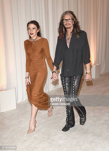 Singer Steven Tyler and guest attend Bulgari at the 24th Annual Elton John AIDS Foundation's Oscar Viewing Party at The City of West Hollywood Park...