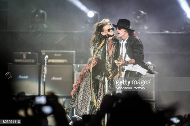 Singer Steven Tyler and guitarist Joe Perry members of the band Aerosmith in concert at Firenze Rocks Festival Florence Italy 23rd June 2017