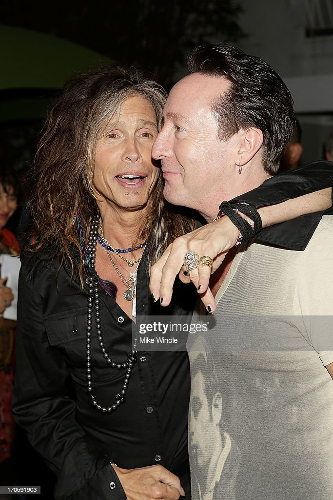 Singer <a gi-track='captionPersonalityLinkClicked' href=/galleries/search?phrase=Steven+Tyler+-+Musician&family=editorial&specificpeople=202080 ng-click='$event.stopPropagation()'>Steven Tyler</a> (L) and <a gi-track='captionPersonalityLinkClicked' href=/galleries/search?phrase=Julian+Lennon&family=editorial&specificpeople=211480 ng-click='$event.stopPropagation()'>Julian Lennon</a> attend the <a gi-track='captionPersonalityLinkClicked' href=/galleries/search?phrase=Julian+Lennon&family=editorial&specificpeople=211480 ng-click='$event.stopPropagation()'>Julian Lennon</a> 'Everything Changes' CD release party at Sunset Marquis Morrison Hotel Gallery on June 14, 2013 in West Hollywood, California.