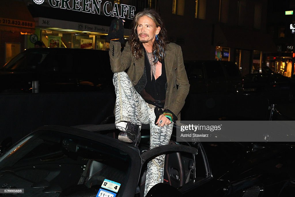 Singer Steven Tyler attends an exclusive event with DuJour's Jason Binn and Nicole Vecchiarelli to celebrate the 'Steven Tyler...Out On A Limb' charity show benefitting Janie's Fund at LAVO on April 30, 2016 in New York City.
