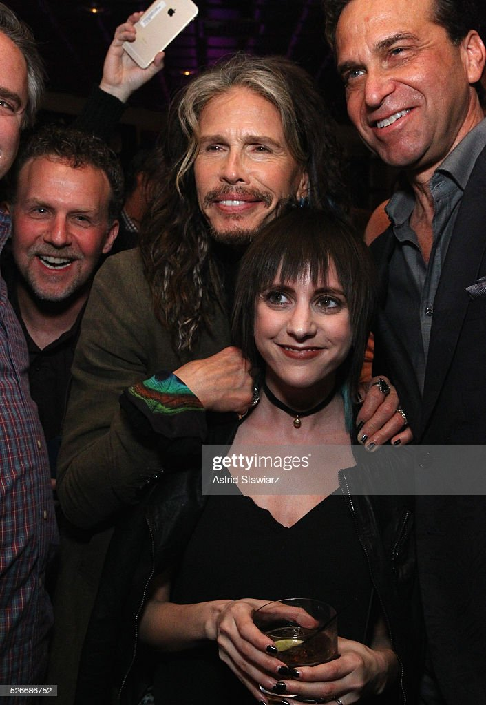 Singer <a gi-track='captionPersonalityLinkClicked' href=/galleries/search?phrase=Steven+Tyler&family=editorial&specificpeople=202080 ng-click='$event.stopPropagation()'>Steven Tyler</a> (C) attends an exclusive event with DuJour's Jason Binn and Nicole Vecchiarelli to celebrate the '<a gi-track='captionPersonalityLinkClicked' href=/galleries/search?phrase=Steven+Tyler&family=editorial&specificpeople=202080 ng-click='$event.stopPropagation()'>Steven Tyler</a>...Out On A Limb' charity show benefitting Janie's Fund at LAVO on April 30, 2016 in New York City.
