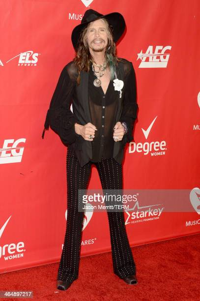 Singer Steven Tyler attends The 2014 MusiCares Person Of The Year Gala Honoring Carole King at Los Angeles Convention Center on January 24 2014 in...