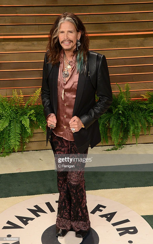 Singer Steven Tyler of Aerosmith arrives at the 2014 Vanity Fair Oscar Party Hosted By Graydon Carter on March 2, 2014 in West Hollywood, California.