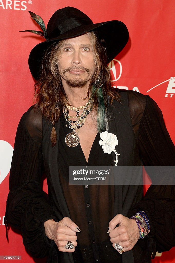 Singer Steven Tyler of Aerosmith attends The 2014 MusiCares Person Of The Year Gala Honoring Carole King at Los Angeles Convention Center on January 24, 2014 in Los Angeles, California.