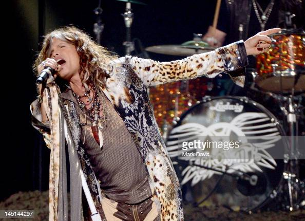 Singer Steven Tyler of Aerosmith performs onstage during Fox's 'American Idol 2012' results show at Nokia Theatre LA Live on May 23 2012 in Los...