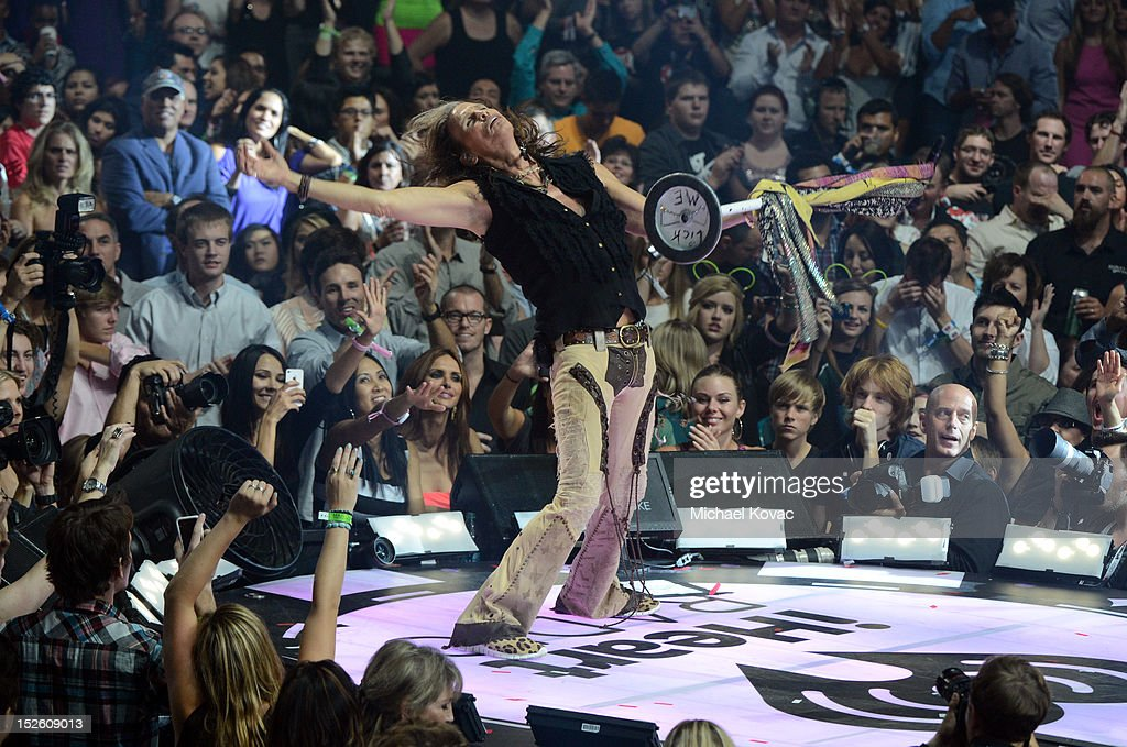 Singer Steven Tyler of Aerosmith performs onstage during the 2012 iHeartRadio Music Festival at the MGM Grand Garden Arena on September 22, 2012 in Las Vegas, Nevada.