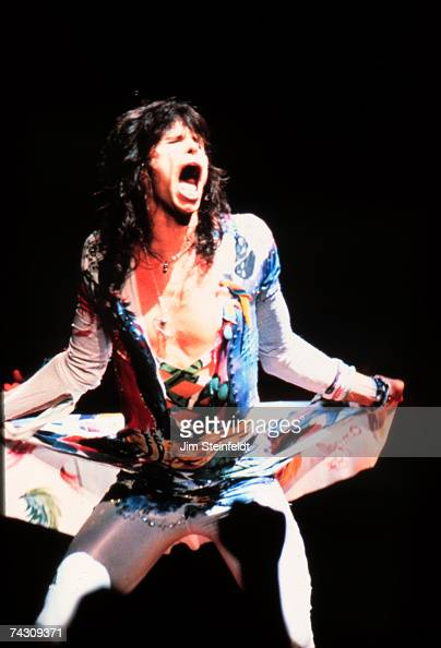 Singer Steven Tyler of the rock and roll band 'Aerosmith' performs onstage in 1987 in Minnesota