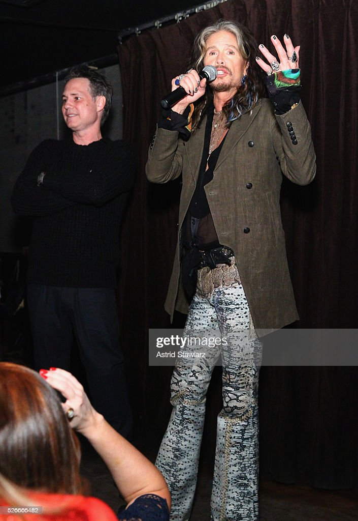 Singer Steven Tyler speaks during an exclusive event with DuJour's Jason Binn and Nicole Vecchiarelli to celebrate the 'Steven Tyler...Out On A Limb' charity show benefitting Janie's Fund at LAVO on April 30, 2016 in New York City.