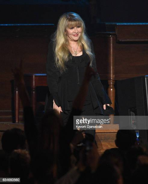 Singer Stevie Nicks appears onstage during MusiCares Person of the Year honoring Tom Petty at the Los Angeles Convention Center on February 10 2017...