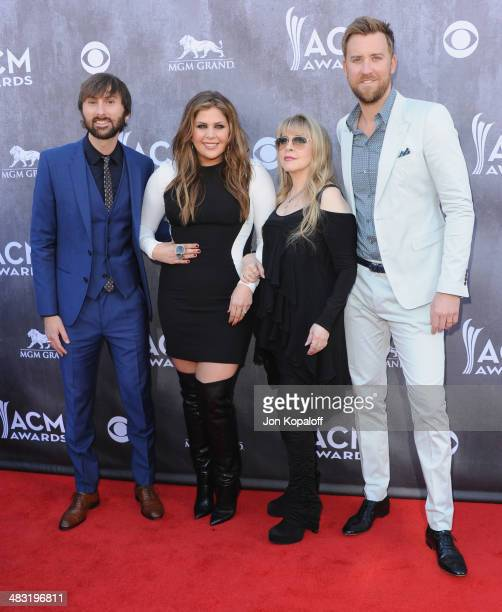 Singer Stevie Nicks Dave Haywood Hillary Scott and Charles Kelley of Lady Antebellum arrive at the 49th Annual Academy Of Country Music Awards at the...