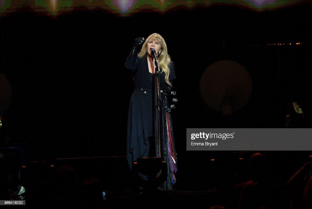 Singer Stevie Nicks performs on stage during her 24 Karat Gold Tour at Perth Arena on November 2, 2017 in Perth, Australia.