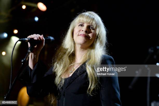 Singer Stevie Nicks performs onstage during MusiCares Person of the Year honoring Tom Petty at the Los Angeles Convention Center on February 10 2017...