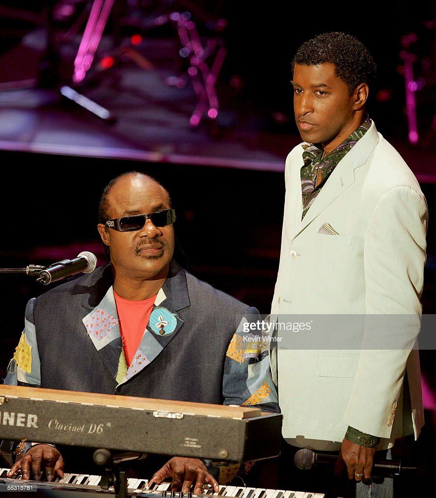 Singer Stevie Wonder and producer Babyface are seen onstage at the 10th Annual Soul Train Lady of Soul Awards held at the Pasadena Civic Auditorium...