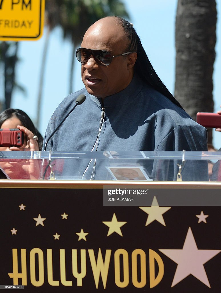 Singer Stevie Wonder attends a ceremony honoring the Funk Brothers with a star on the Hollywood Walk of Fame on March 21, 2013 in Hollywood, California.The Funk Brothers was the nickname of Detroit, Michigan, session musicians who performed the backing to most Motown recordings from 1959 until the company moved to Los Angeles in 1972.
