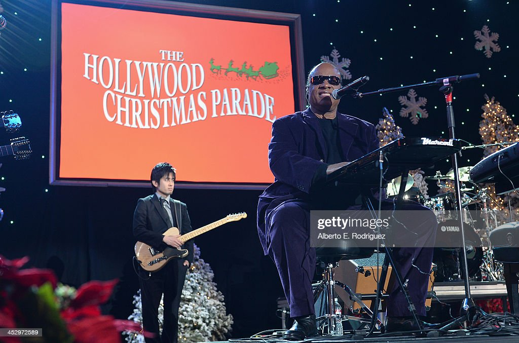 Singer <a gi-track='captionPersonalityLinkClicked' href=/galleries/search?phrase=Stevie+Wonder&family=editorial&specificpeople=171911 ng-click='$event.stopPropagation()'>Stevie Wonder</a> performs at the 82nd Annual Hollywood Christmas Parade on December 1, 2013 in Hollywood, California.