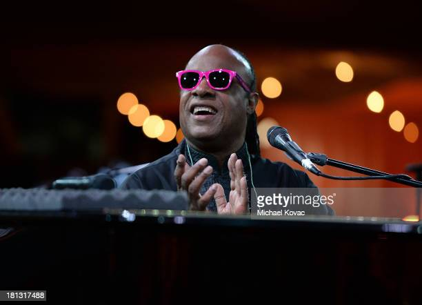 Singer Stevie Wonder performs onstage at the City Of Hope Spirit Of Life Gala Honoring Rob Light on September 19 2013 in Playa Vista California
