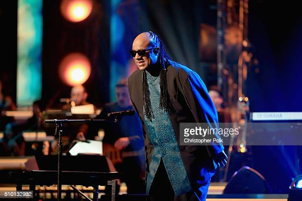 Singer Stevie Wonder performs onstage during the 2016 MusiCares Person of the Year honoring Lionel Richie at the Los Angeles Convention Center on...