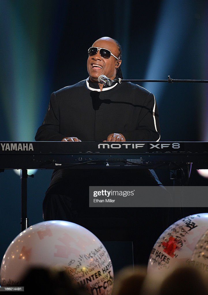 Singer Stevie Wonder performs onstage during the 48th Annual Academy of Country Music Awards at the MGM Grand Garden Arena on April 7, 2013 in Las Vegas, Nevada.