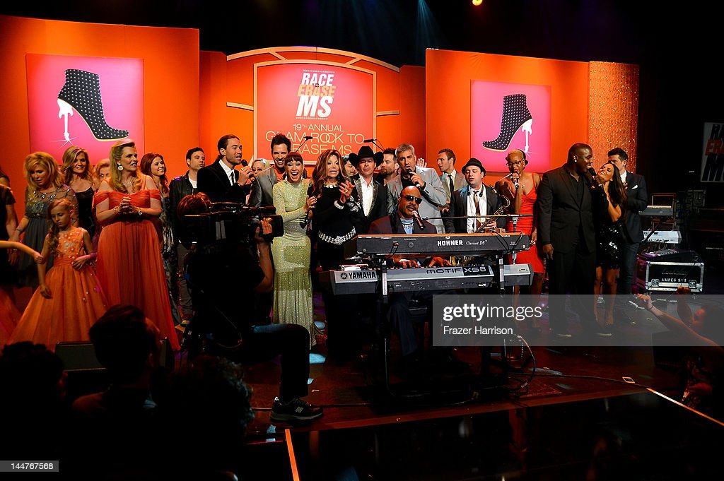 Singer <a gi-track='captionPersonalityLinkClicked' href=/galleries/search?phrase=Stevie+Wonder&family=editorial&specificpeople=171911 ng-click='$event.stopPropagation()'>Stevie Wonder</a> (Front) performs with guests during the 19th Annual Race To Erase MS held at the Hyatt Regency Century Plaza on May 18, 2012 in Century City, California.