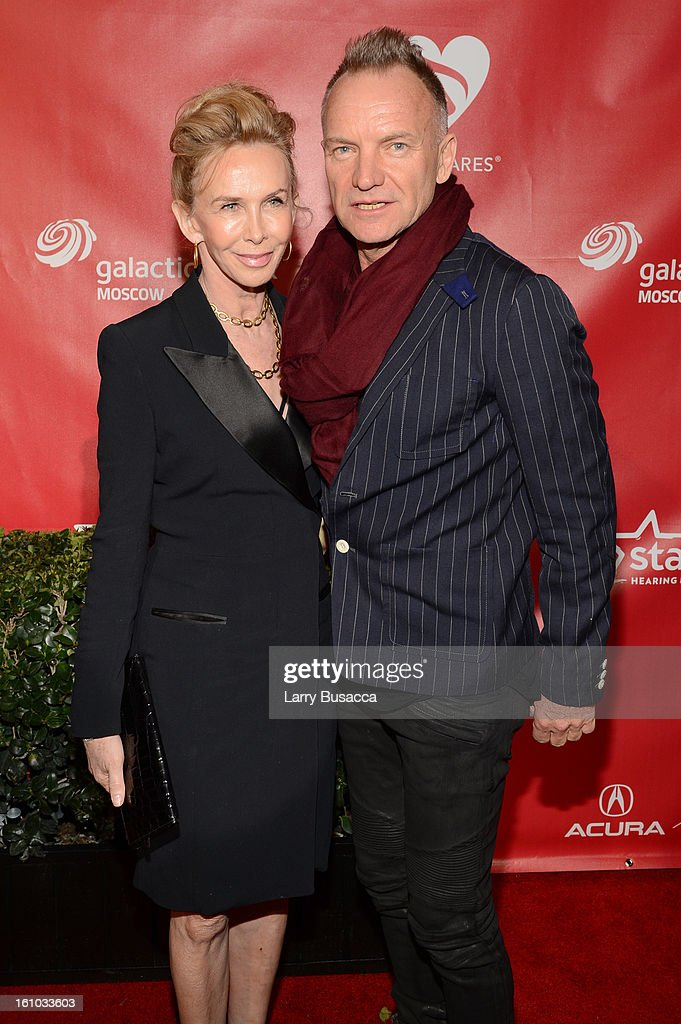 Singer Sting (L) and producer Trudy Styler arrives at MusiCares Person Of The Year Honoring Bruce Springsteen at Los Angeles Convention Center on February 8, 2013 in Los Angeles, California.