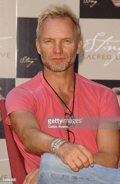 Singer Sting attends a Spanish promotional photocall for his new album 'Sacred Love' at Hotel Villamagna September 15 2003 in Madrid Spain