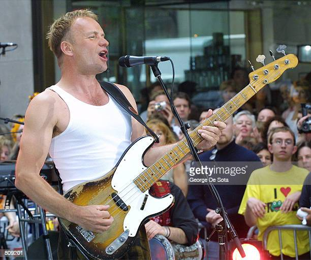 Singer 'Sting' performs May 4 2001 on the Today Summer Concert Series 2001 at Rockefeller Plaza in New York City