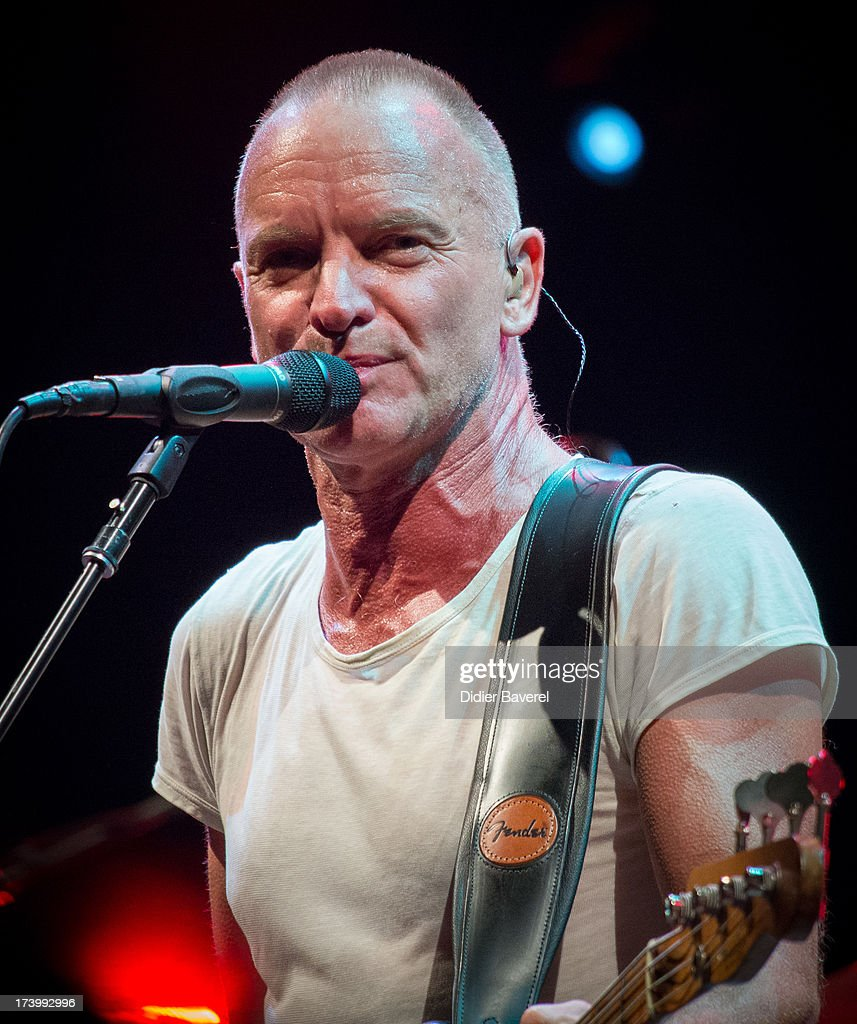 Singer STING performs on stage at Juan-Les-Pins Jazz Festival on July 18, 2013 in Juan-les-Pins, France.