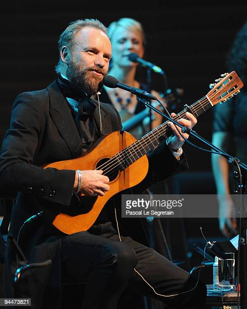 Singer Sting Performs on stage at Salle Pleyel on December 15 2009 in Paris France