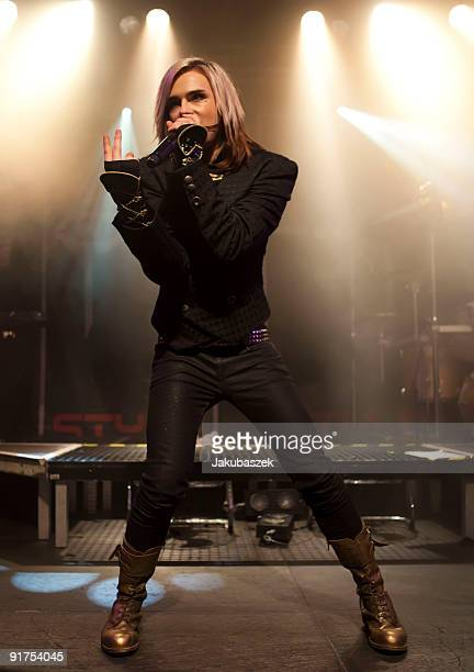 Singer Strify of the German rock band Cinema Bizarre performs live during a concert at the Postbahnhof on October 11 2009 in Berlin Germany The...