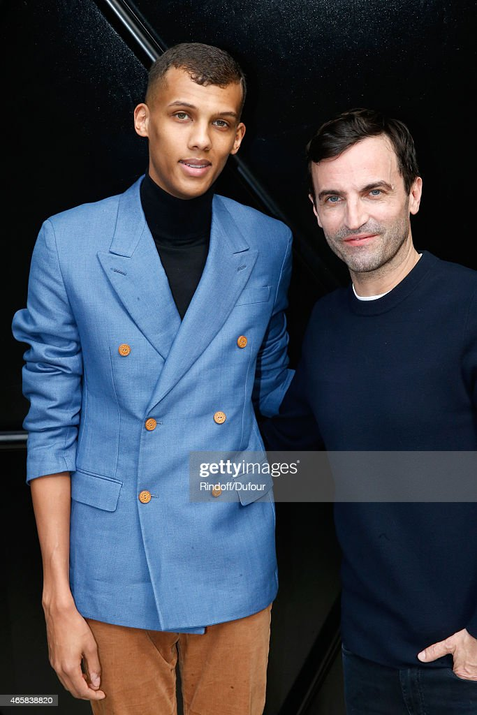 Singer <a gi-track='captionPersonalityLinkClicked' href=/galleries/search?phrase=Stromae&family=editorial&specificpeople=6826786 ng-click='$event.stopPropagation()'>Stromae</a> and Fashion Designer <a gi-track='captionPersonalityLinkClicked' href=/galleries/search?phrase=Nicolas+Ghesquiere+-+Fashion+Designer&family=editorial&specificpeople=4921852 ng-click='$event.stopPropagation()'>Nicolas Ghesquiere</a> pose after the Louis Vuitton show as part of the Paris Fashion Week Womenswear Fall/Winter 2015/2016 on March 11, 2015 in Paris, France.