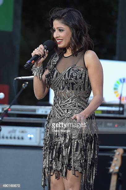 Singer Sunidhi Chauhan performs on stage at the 2015 Global Citizen Festival to end extreme poverty by 2030 in Central Park on September 26 2015 in...