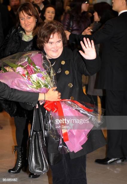 Singer Susan Boyle arrives at Narita International Airport on December 29 2009 in Narita Chiba Japan