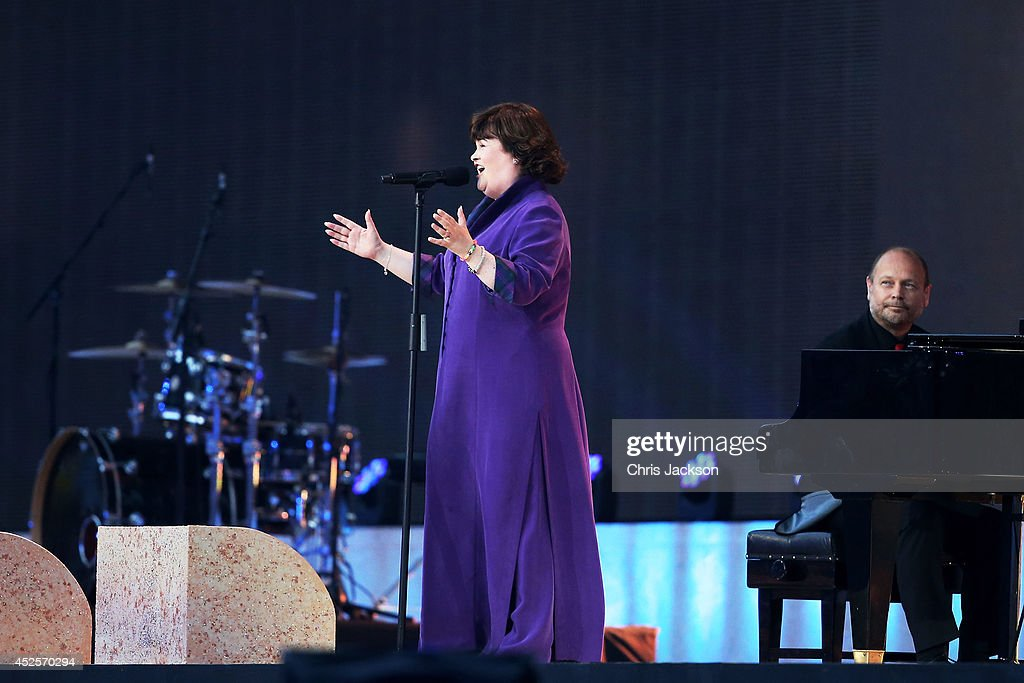 Singer Susan Boyle performs 'Mull of Kintyre' with Pianist Kennedy Aitchison during the Opening Ceremony for the Glasgow 2014 Commonwealth Games at...