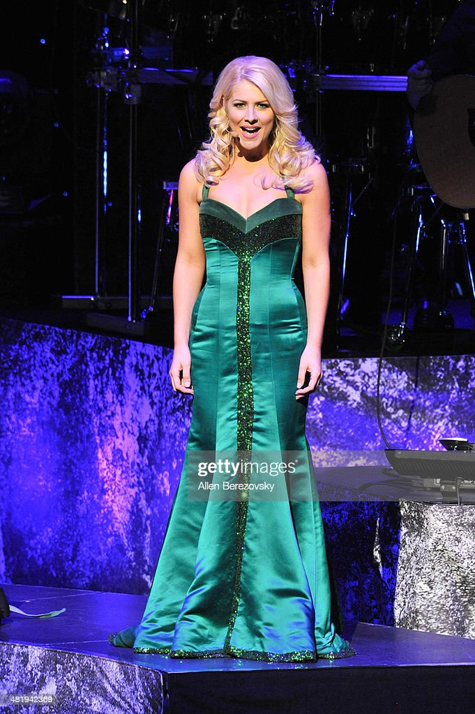 Singer Susan McFadden of Celtic Woman performs during 'The Emerald Tour' concert at Segerstrom Center For The Arts on April 1, 2014 in Costa Mesa, California.