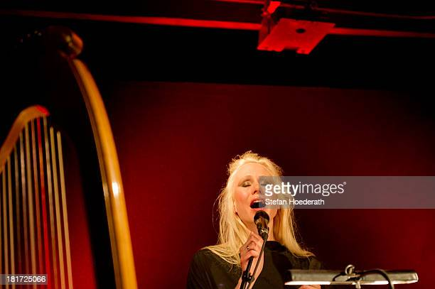 Singer Susanna K Wallumrod performs live during a Yellow Lounge organized by recording label Deutsche Grammophon at Gretchen nightclub on February 29...