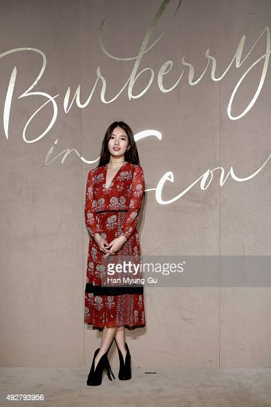 Singer Suzy from Miss A attends the Burberry Seoul Flagship Store Opening Event on October 15 2015 in Seoul South Korea