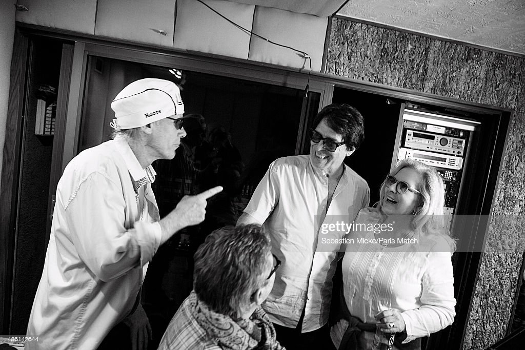 Singer Sylvie Vartan and her husband Tony Scotti, record producer Michael Lloyd in the recording studio of Sony Music is photographed for Paris Match on July 17, 2015 in Los Angeles, California.