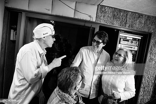 Singer Sylvie Vartan and her husband Tony Scotti record producer Michael Lloyd in the recording studio of Sony Music is photographed for Paris Match...