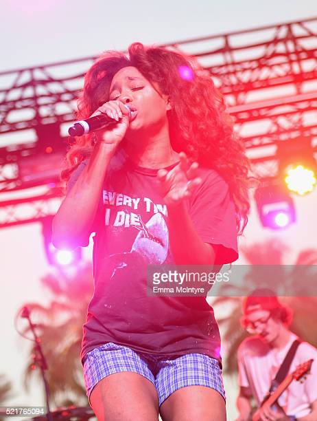 Singer SZA performs onstage during day 2 of the 2016 Coachella Valley Music Arts Festival Weekend 1 at the Empire Polo Club on April 16 2016 in Indio...