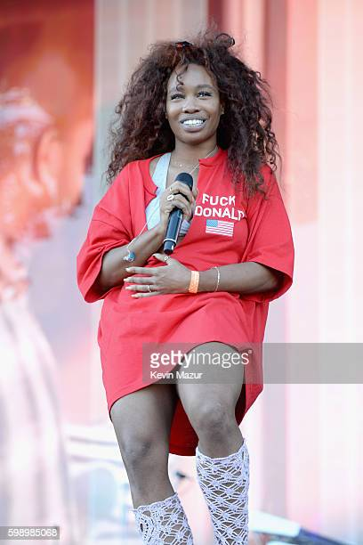 Singer SZA performs onstage during the 2016 Budweiser Made in America Festival at Benjamin Franklin Parkway on September 3 2016 in Philadelphia...