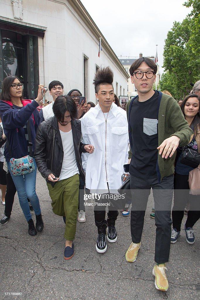 Singer TaeYang is seen leaving the Kris Van Assche fashion show at 'Palais de Tokyo' on June 28 2013 in Paris France